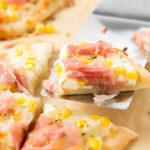 Mini Naan Pizza with Corn and Prosciutto