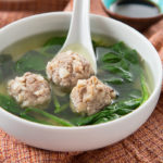 My Mom's Pork Meatball Spinach Soup